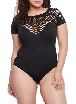 Plus Size Short Sleeve Laser Cut Yoke Bodysuit - 1911062900748