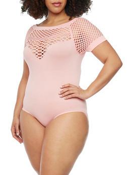 Plus Size Short Sleeve Laser Cut Yoke Bodysuit - 1911062900748