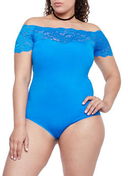 Plus Size Lace Trimmed Off the Shoulder Bodysuit - RYL BLUE - 1911062907627