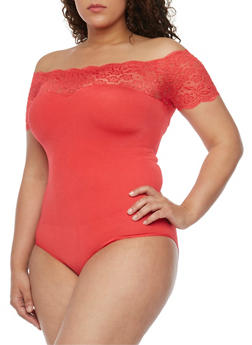 Plus Size Lace Trimmed Off the Shoulder Bodysuit - FUCHSIA - 1911062907627