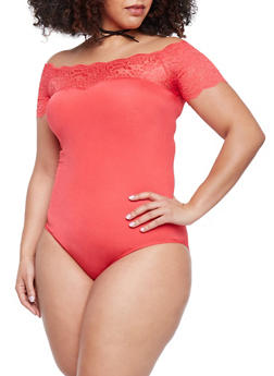 Plus Size Lace Trimmed Off the Shoulder Bodysuit - 1911062907627