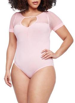 Plus Size Mesh Yoke Bodysuit with Keyhole - BLUSH - 1911062908196