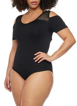 Plus Size Cold Shoulder Bodysuit with Lasercut Straps - BLACK - 1911062909981