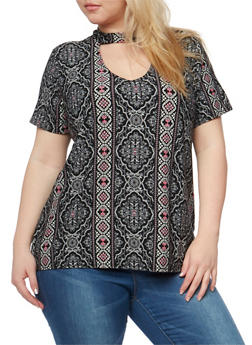 Plus Size Printed V Neck Choker Top - 1912001440311