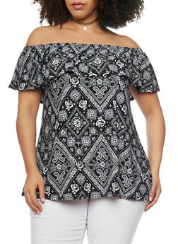 Plus Size Printed Off the Shoulder Top with Ruffle Overlay - 1912001440631