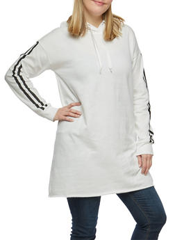 Plus Size Athletic Striped Tunic Sweatshirt - 1912001440717