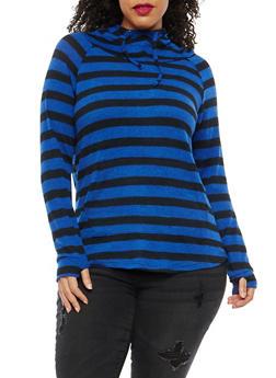 Plus Size Stripe Hooded Sweater - 1912001441516