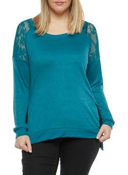 Plus Size Crochet Trim Sweatshirt - 1912001441524