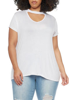 Plus Size Asymmetrical Hem Keyhole Choker Top - WHITE - 1912001441628