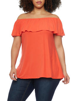 Plus Size Off the Shoulder Ruffle Overlay Top - 1912001441630
