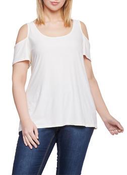 Plus Size Cold Shoulder Brushed Knit Top - 1912001441633