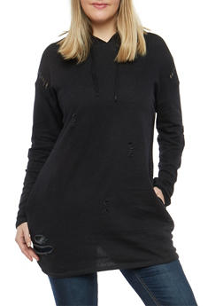 Plus Size Distressed Long Sweatshirt - 1912001441710