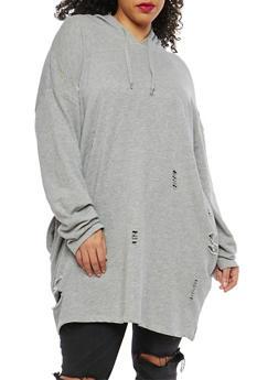 Plus Size Distressed Long Sweatshirt - 1912001441710