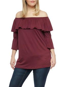 Plus Size Soft Knit Off the Shoulder Top - 1912001441711