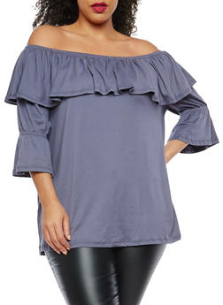 Plus Size Soft Knit Off the Shoulder Top - 1912001441711