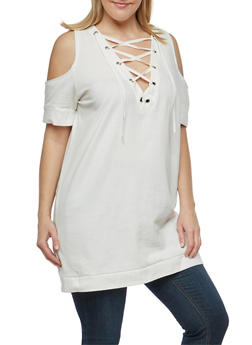Plus Size Lace Up Cold Shoulder Tunic Sweatshirt - IVORY - 1912001441715