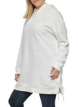 Plus Size Lace Up Side Sweatshirt - 1912001441716