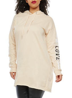 Plus Size Love Graphic Tunic Sweatshirt - 1912001441717