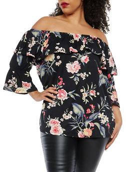 Plus Size Floral Off the Shoulder Top - 1912001447111
