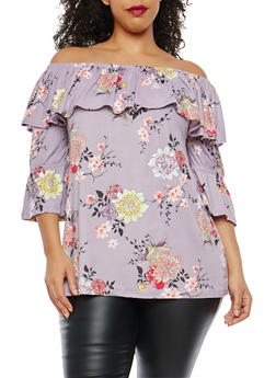 Plus Size Floral Off the Shoulder Bell Sleeve Top - 1912001447112