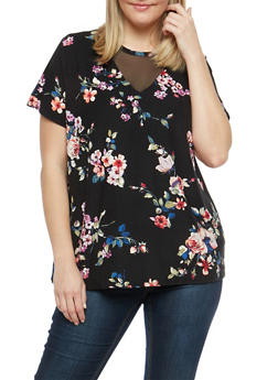 Plus Size Soft Knit Floral Top with Mesh Detail - 1912001447211