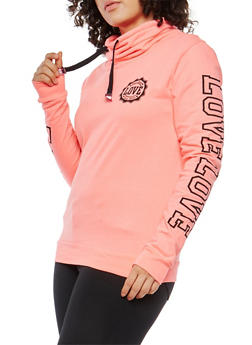 Plus Size Love Graphic Cowl Neck Sweatshirt - 1912033870088