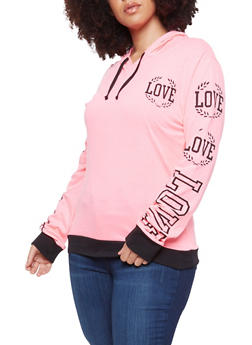 Plus Size Love Graphic Pullover Hoodie - 1912033870449