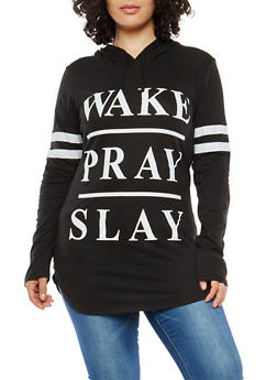 Plus Size Wake Pray Slay Hooded Top - 1912033870869