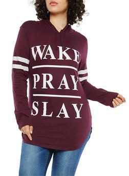 Plus Size Wake Pray Slay Hooded Top - 1912033870869