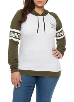 Plus Size Woke Up Flawless Graphic Long Sleeve Hoodie - OLIVE -WHITE - 1912033870949