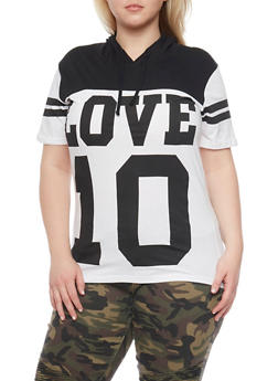 Plus Size Love 10 Graphic Hooded Top - 1912033871079