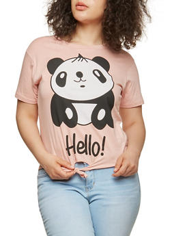 Plus Size Panda Graphic Tie Front T Shirt - 1912033871655