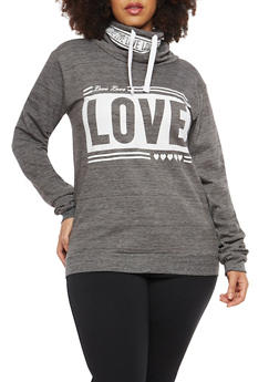 Plus Size Love Graphic Cowl Neck Sweatshirt - 1912033872465