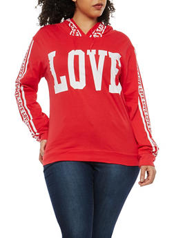 Plus Size Graphic Hooded Top - 1912033872548