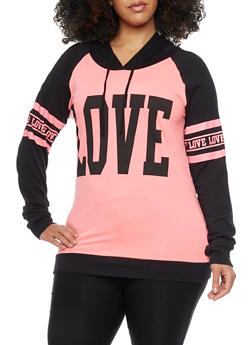 Plus Size Long Sleeve Love Graphic Hoodie - 1912033872555