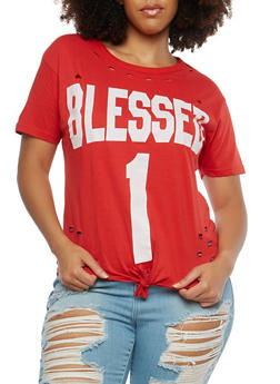 Plus Size Blessed Graphic Distressed T Shirt - 1912033872669