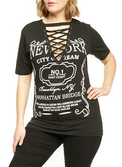 Plus Size Lace Up NYC Dream Graphic T Shirt - BLACK - 1912033872925