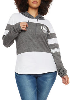 Plus Size Love Graphic Color Block Sweatshirt - 1912033872995