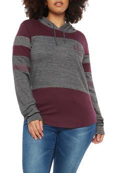 Plus Size Love Graphic Color Block Sweatshirt - 1912033872995