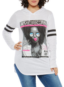 Plus Size Graphic Hooded Sweatshirt - 1912033873248