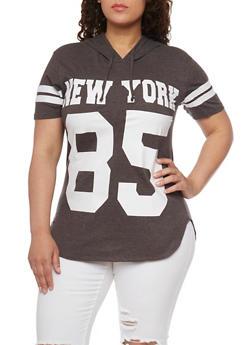 Plus Size Short Sleeve New York 10 Graphic Hoodie - 1912033875155