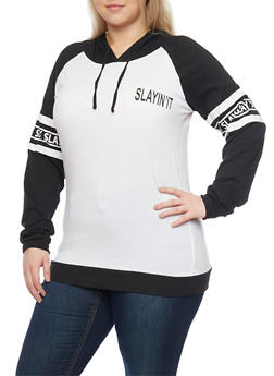 Plus Size Slayin It Graphic Long Sleeve Hoodie - 1912033875888