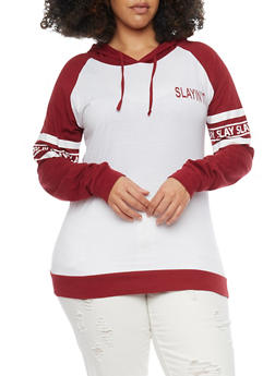 Plus Size Slayin It Graphic Long Sleeve Hoodie - WINE-WHITE - 1912033875888
