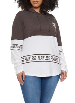 Plus Size Hooded Color Block Long Sleeve Graphic Top - 1912033875947