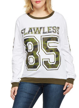 Plus Size Long Sleeve Top with Camo Flawless Print - 1912033876255