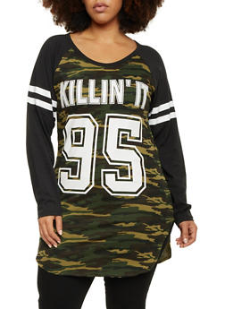 Plus Size Raglan Sleeve Camo Top with Killin It Graphic - 1912033876625