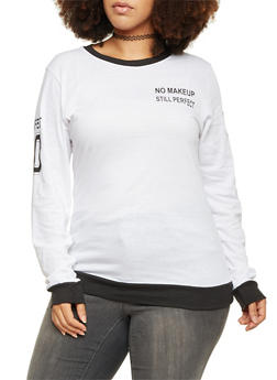 Plus Size Graphic Top with Contrast Trim - BLACK/WHITE - 1912033876865