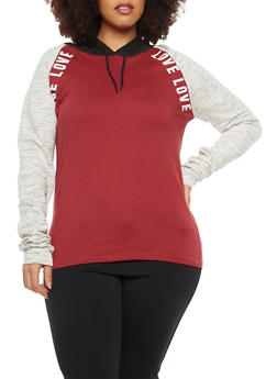 Plus Size Love Graphic Hooded Sweatshirt - 1912033876997