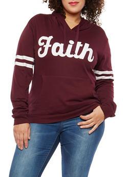Plus Size Faith Graphic Hooded Sweatshirt - 1912033877536