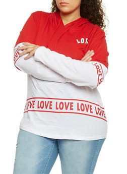 Plus Size Love Graphic Color Block Hoodie - 1912033877755